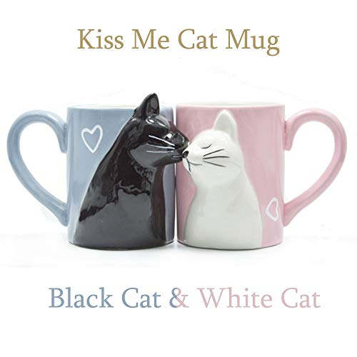 Kiss Cat Coffee Couple Mug set, Unique Funny Tea Ceramic Cup Set for Bride and Groom, Matching Gift For Birthday, Anniversary, Wedding, Engagement Valentines Day