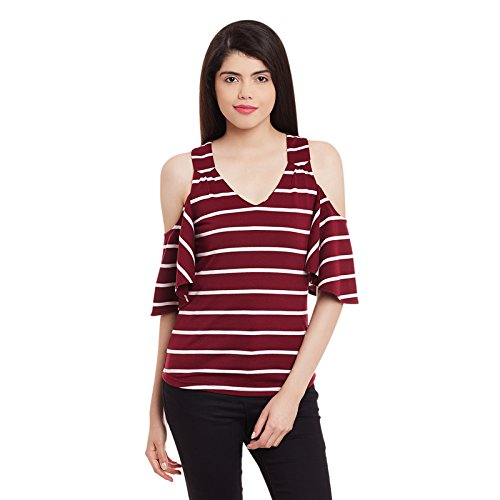 cd2cf65b755a08 Hypernation Maroon and White Color Cotton Cold Shoulder Top for Women   Amazon.in  Clothing   Accessories