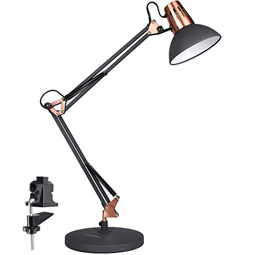 LEPOWER Metal Desk Lamp, Adjustable Goose Neck Architect Table Lamp with On/Off Switch, Swing Arm Desk Lamp with Clamp, Eye-Caring Reading Lamp for Bedroom, Study Room &Office (Black)