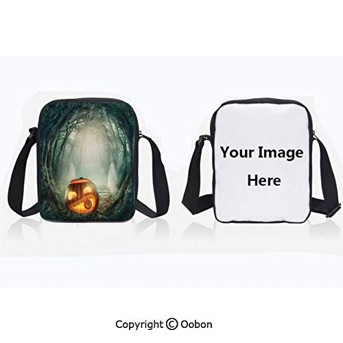 Unisex Adult Polyester Crossbody Bag Waterproof Scary Halloween Pumpkin Enchanted Forest Mystic Twilight Party Art Orange Teal Zipper Anti Theft Shoulder Bag For Travel