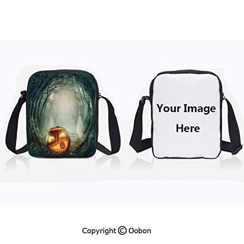 Unisex Adult Polyester Crossbody Bag Waterproof Scary Halloween Pumpkin Enchanted Forest Mystic Twilight Party Art Orange Teal Zipper Anti Theft Shoulder Bag For Travel