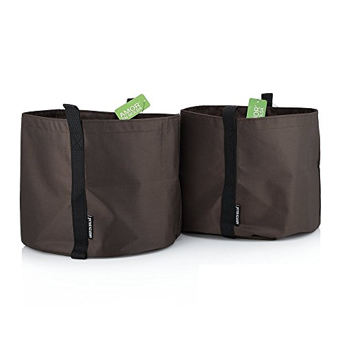 Amor En Bolsa 5 Gallon Garden Planters - Set of 2 - Brown Color Polyester Plant Pots w/Handles - Ideal for Indoor & Outdoor Use - Fabric Flower Pots Perfect to Decorate Your House, Patio or Balcony by Amor En Bolsa