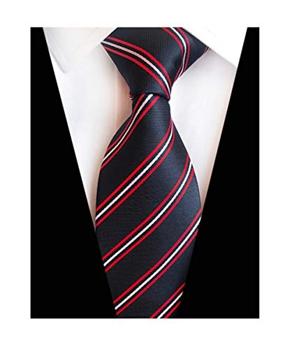 MENDENG New Classic Striped Red Blue Streak 100% Silk Men's Tie Necktie - Tie 100%