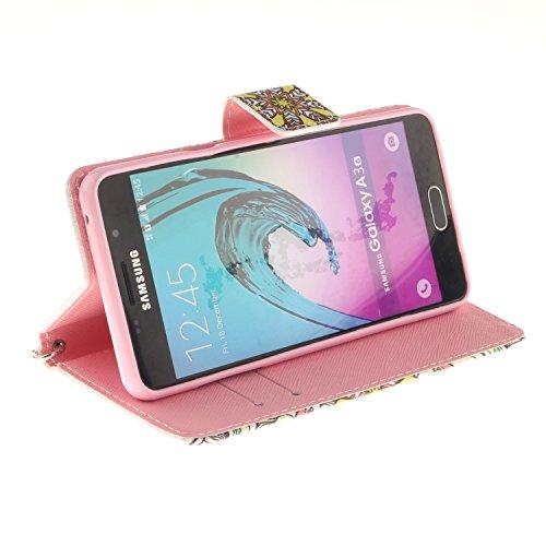 Cartoon Color Printing Malkästen Premium-PU-Leder-Kasten mit Kartensteckplätze und Handschlaufe Folio Stand Case für Samsung Galaxy A310 A3 2016 ( PATTERN : K , Size : Samsung Galaxy A310 A3 )