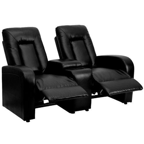 Flash Furniture Eclipse Series 2-Seat Recliner Black Leather (Large Image)