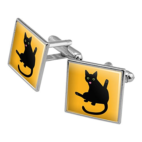 Silver Cat Plated Cufflinks - Black Cat Lifting Leg and Licking Square Cufflink Set Silver Color