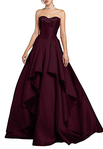 Beaded J10 Prom 2018 Evening Bridal Women's Burgundy With Pockets Beauty Dresses Party Gowns PBUwxyEHq