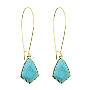 Rugewelry 18k Gold Plated Turquoise Earrings Dangle Drop Earrings For Women,Girls' Gifts