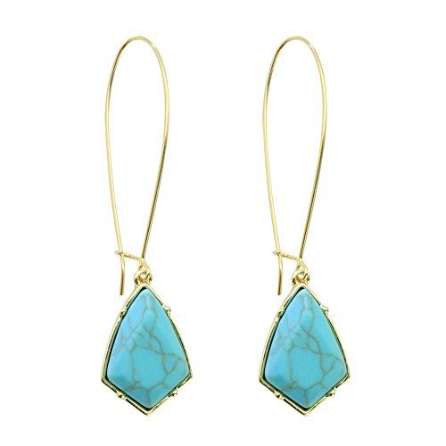 Rugewelry 18k Gold Plated Turquoise Earrings Dangle Drop Earrings For Women,Girls Gifts