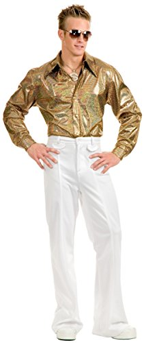 1970 Pimp Costumes (Hologram Disco Shirt Adult Costume - Large)