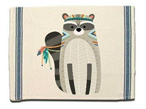 Tribal Raccoon Kitchen Towel, Dish Towel, Tea Towel, Flour Sack Material,Woodland Animals Dish Towels,Flour Sack Kitchen Towel, Dish Cloth