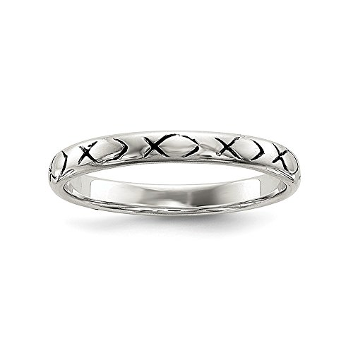 925 Sterling Silver Ichthus Band Ring Size 8.00 Religious Fine Jewelry Gifts For Women For Her (Ichthus Jewelry)