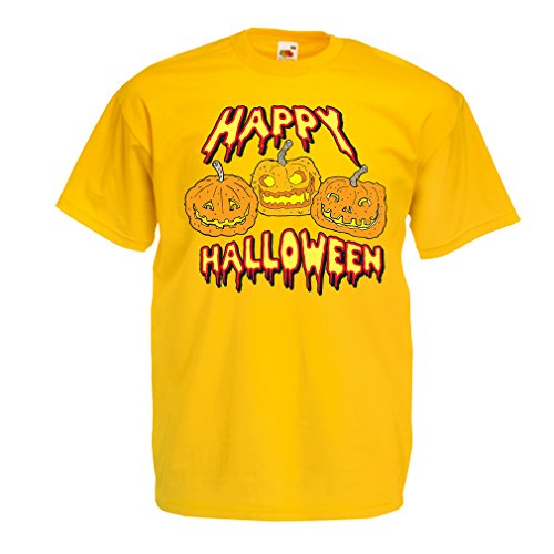 T Shirts for Men Happy Halloween! Party Outfits & Costume - Gift Idea (Small Yellow Multi Color) ()