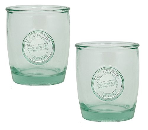 Authentic 100% Recycled Glass Drinking Cup with Embossed Authentic Seal, 14 ounce (Pack of 2) (Recycled Glass Jar)