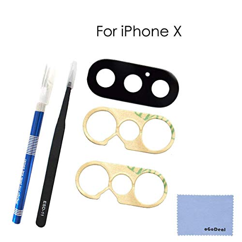 oGoDeal OEM Rear Camera Glass Lens Cover Replacement for iPhone X Original with Tool Kit and Ahesive Preinstalled