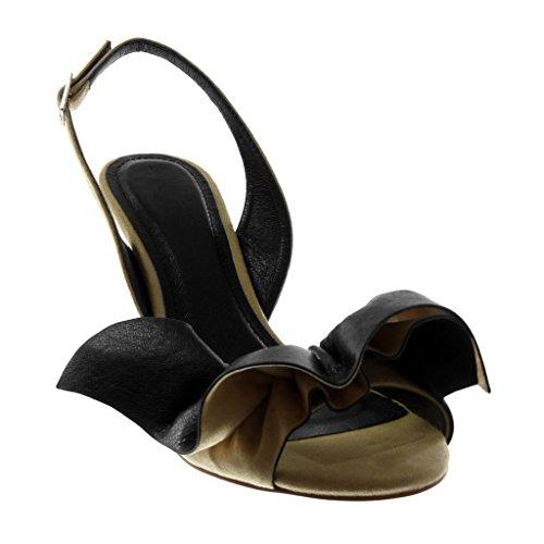 Talon Escarpin 9 Haut Aiguille cm Decolleté Volants à Beige Boucle Femme Ouverte Lanière Angkorly BI Mode Chaussure Matière Arrière xOpaCwH