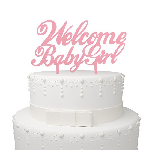 Welcome Baby Girl Pink Acrylic Cake Topper – Baby Shower B