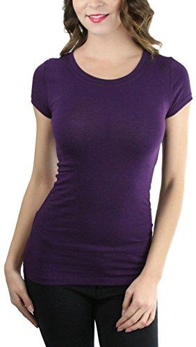 Neck Tee Wide - ToBeInStyle Women's Slim Fit Crew Neck S.S. Longline Tee - Dark Purple - Medium
