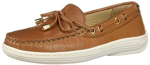 Driver Club USA Unisex Leather Boys/Girls Casual Comfort Slip On Moccasin Tie-Bow Loafer Driving Style, tan Grainy, 13.5 M US Little - Kids Tan Moccasin