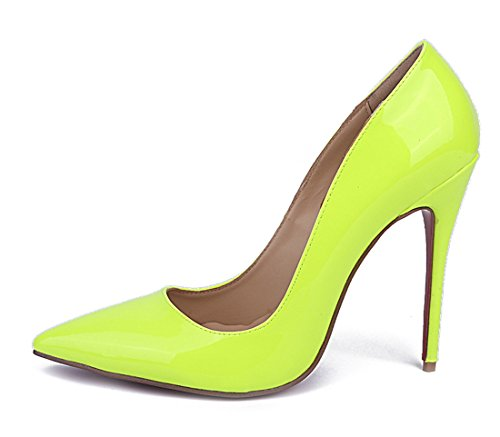 Pointed Color Green Leather Women's Stiletto Toe Patent TDA Pure Pumps Baby TO5wqx