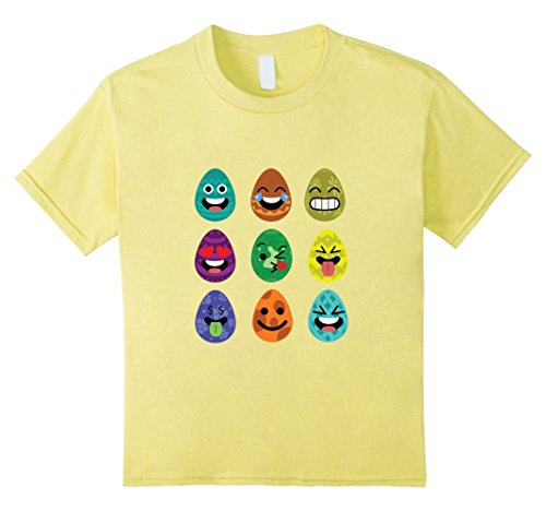 [Kids Easter Emoji T-Shirt Funny Easter Egg Faces Shirt 6 Lemon] (Plus Size Easter Bunny Costumes)