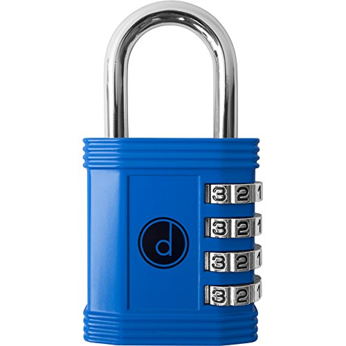 Padlock - 4 Digit Combination Lock for Gym, Sports, School & Employee Locker, Outdoor, Fence, Hasp and Storage - All Weather Metal & Steel - Easy to Set Your Own Keyless Resettable Combo - Blue 4 Pin Tumbler Steel Padlock