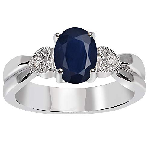 Sapphire & Diamond Wedding Ring By Orchid Jewelry : Anniversary And Engagement Rings For Women, Multi Birthstone Promise Ring For Her, Sterling Silver Gemstone Fashion Rings Size 8 (1.50 Ctw)