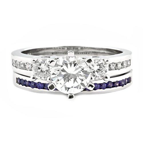 Lakoda AT: 1.58ct IOF CZ and Simulated Amethyst 2 pc Wedding Ring Set Silver, 3069-3150A 1000 Jewels JLL87012