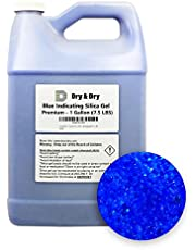 """""""Dry & Dry"""" (1 Gallon) Premium Silica Gel Blue Indicating(Blue to Pink) Silica Gel Beads Desiccant Beads(Industry Standard 2-4 mm) - Rechargeable(7.5 LBS) Moisture Absorber Silica Gel"""