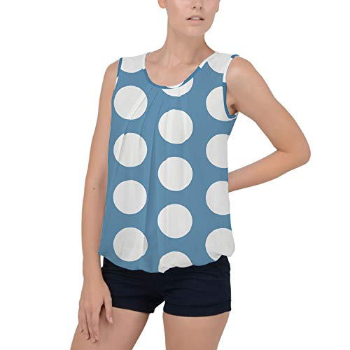 Large Polka Dots on Blue Chiffon Bubble Hem Top - XS