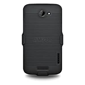 Amzer AMZ93808 Shellster Case Cover Holster for HTC One X - Retail Packaging - Black