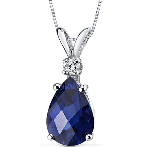 14 Karat White Gold Pear Shape 2.50 Carats Created Blue Sapphire Diamond Pendant by Peora