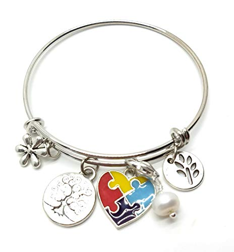 - Awareness Bracelet with Autism Ribbon Charms in Gift Box (Autism)