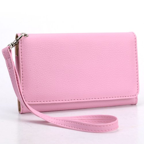 universal-smart-phone-wristlet-wallet-carry-case-purse-cover-w-strap-for-lg-escape-p870-magenta