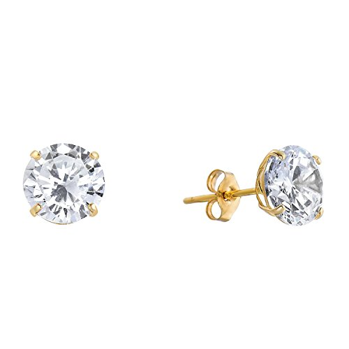 14k Yellow Gold Solitaire Round Cubic Zirconia CZ Stud Earrings with Gold butterfly Pushbacks -