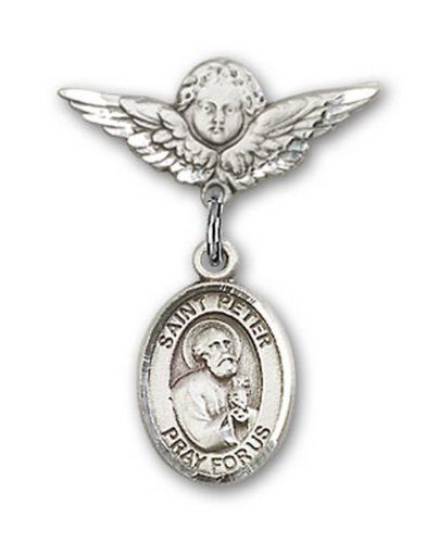 Icecarats Créatrice De Bijoux En Argent Sterling St. Peter La Broche Badge Apôtre Charme D'Ange 7/8 X 3/4