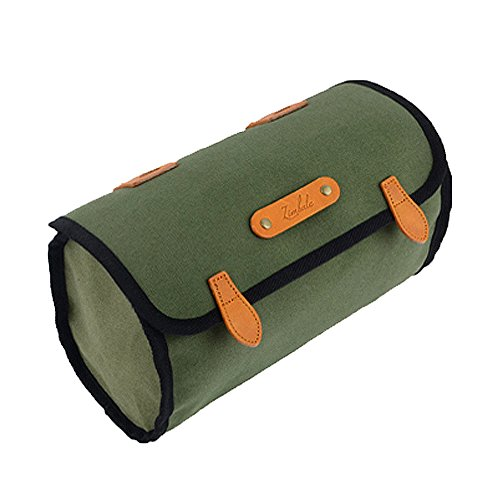 Surly Touring Bike - Zimbale Bicycle Waterproof Canvas Saddlebag - 3 Liter Capacity - 9.4 X 5.9 X 4.3 (inch) - Green