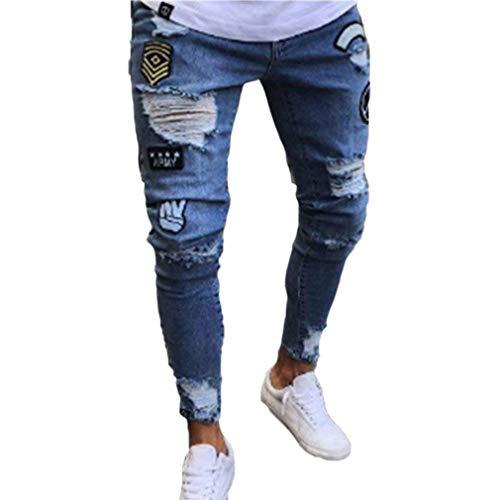 Uomo Hop lannister Strappati Nero Jeans Con Fori Chiusura Da Ragazzo Streetwear Pantaloni Hip Qk Elasticizzata wtXUzdxCqx