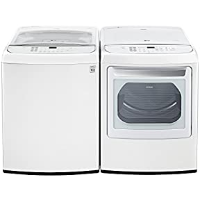 LG PAIR SPECIAL-Mega Capacity High Efficiency Top Load Laundry System with ELECTRIC Dryer in Pure White Color (WT1901CW+DLEY1901WE)