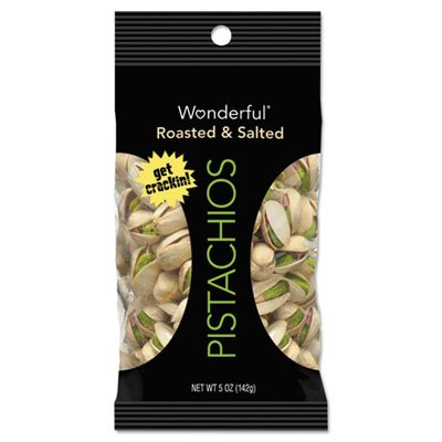 Wonderful Pistachios, Dry Roasted & Salted, 5 oz, 8/Box