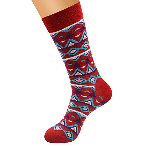 Men's Print Socks, VECDUO Large Size Casual Tube Pattern Style Cotton Warm Tide Socks -