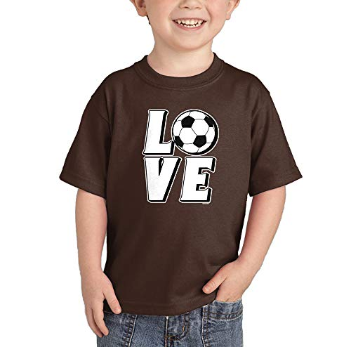 (Love Soccer - Sports Future Athlete Infant/Toddler Cotton Jersey T-Shirt (Brown, 5T) )