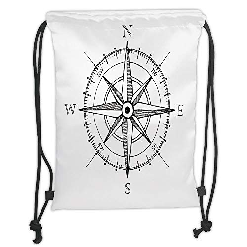 New Fashion Gym Drawstring Backpacks Bags,Compass,Hand Drawn Compass Windrose North and South East West Directions Black and White,Black White Soft Satin,Adjustable String Closure