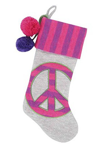 Target Pink & Gray Knit Peace Sign Christmas Stocking]()