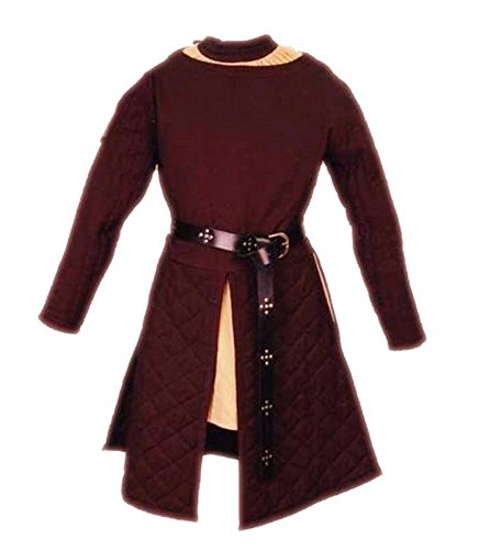 Medieval Gambeson Armour Coat Tabard Padded Marron Color Tunic Full Sleeves (Size-S) by Leorenzo (Image #2)