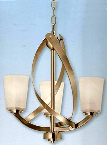 Kichler Lighting Layla Chandelier 17.2 in 3-Brushed Nickel Finish Etched Shaded Glass