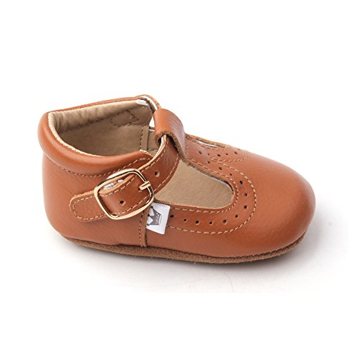 Liv & Leo Baby Girls Mary Jane T-Strap T-Bar Oxford Soft Sole Crib Shoes Leather (12-18 Months, Brown)]()