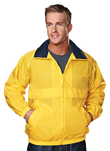 Tri Mountain 2000 Highland Windproof/Water Resistant 100% Nylon Jacket,YELLOW GOLD / NAVY, L - Highland Dress Jackets