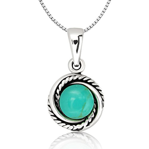 Chuvora 925 Oxidized Sterling Silver Blue Turquoise Stone Modern Twisted Rope Circle Pendant Necklace 18