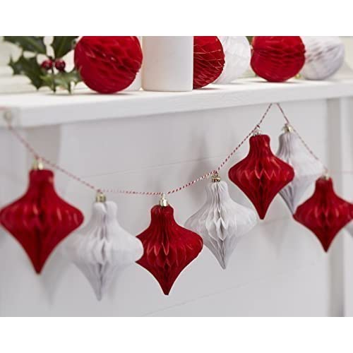 ginger ray christmas red white honeycomb baubles hanging decoration vintage noel